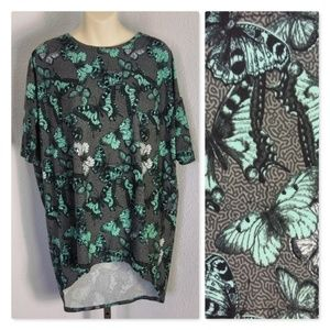 Lularoe Grey Small Irma Tee Butterflies